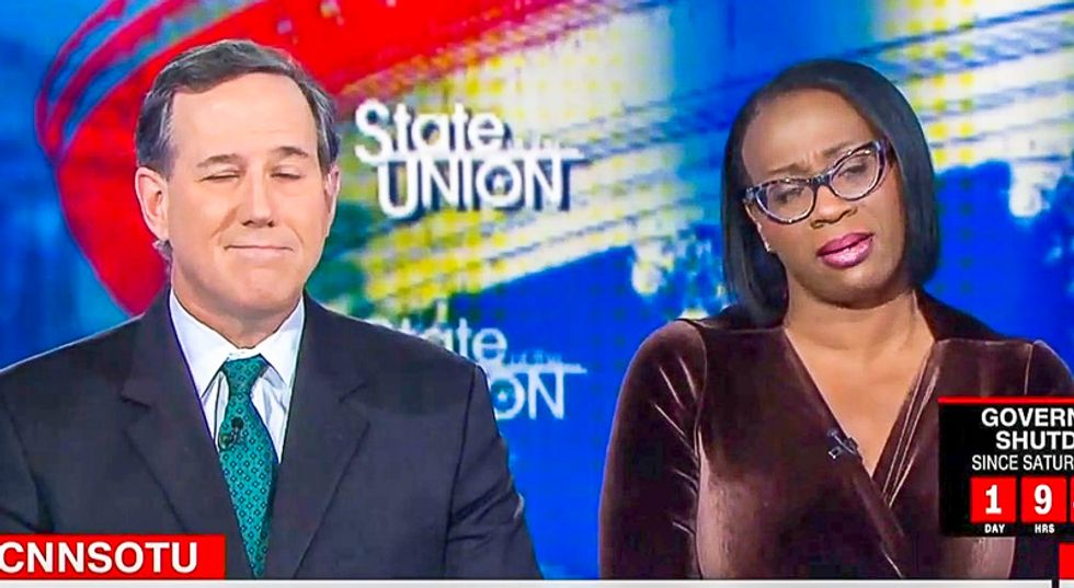 Nina Turner shreds Santorum after he defends not paying government workers: 'We are in a Hunger Games moment'