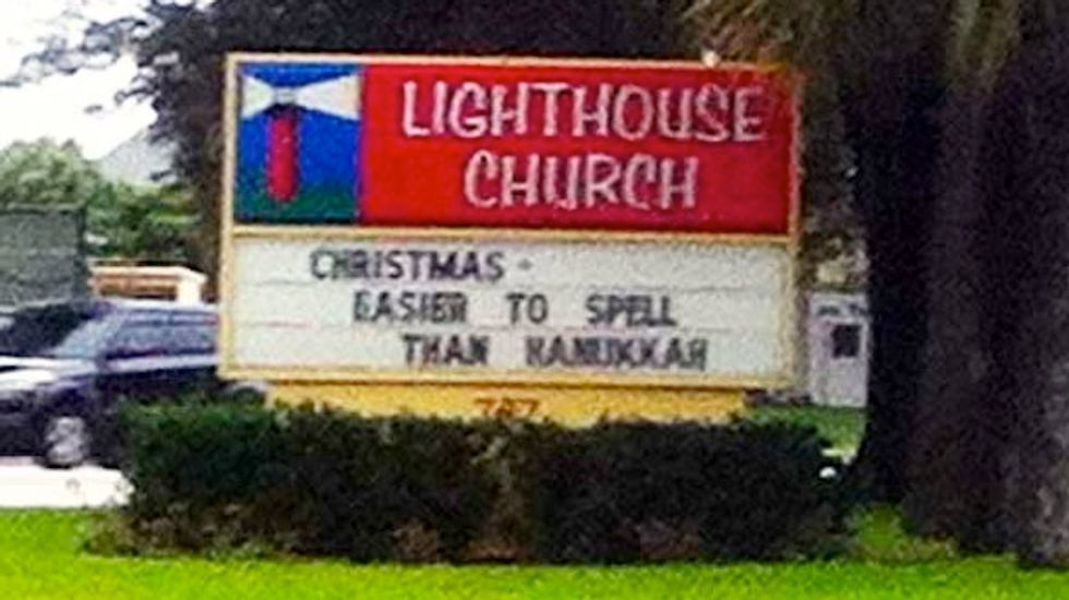 Florida pastor defends church sign's message: 'Christmas is easier to spell than Hanukkah'