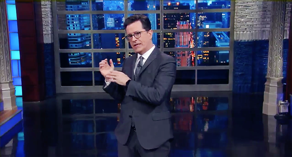 'Trump found the leaker': Colbert mocks 'idiot in the Oval Office' for handing over intel to the Russians