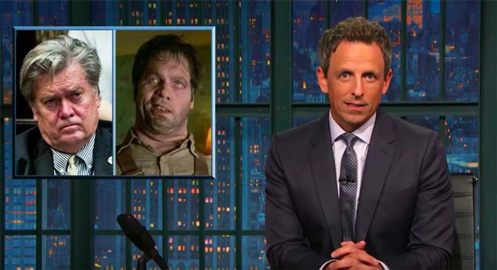 'He disproves white people are a master race': Seth Meyers takes apart Bannon's glee at Nazi turmoil