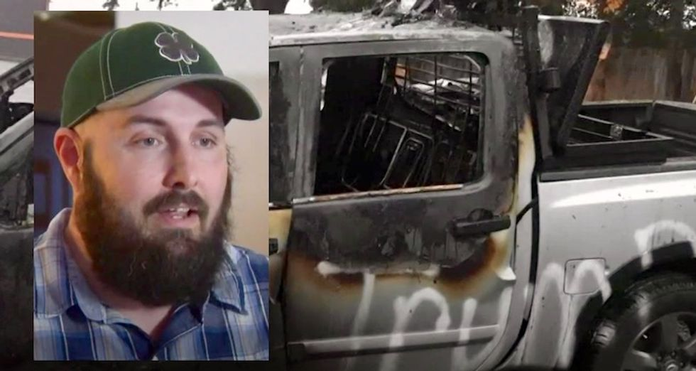 Trump supporter has truck torched and tagged outside bar in Portland suburb