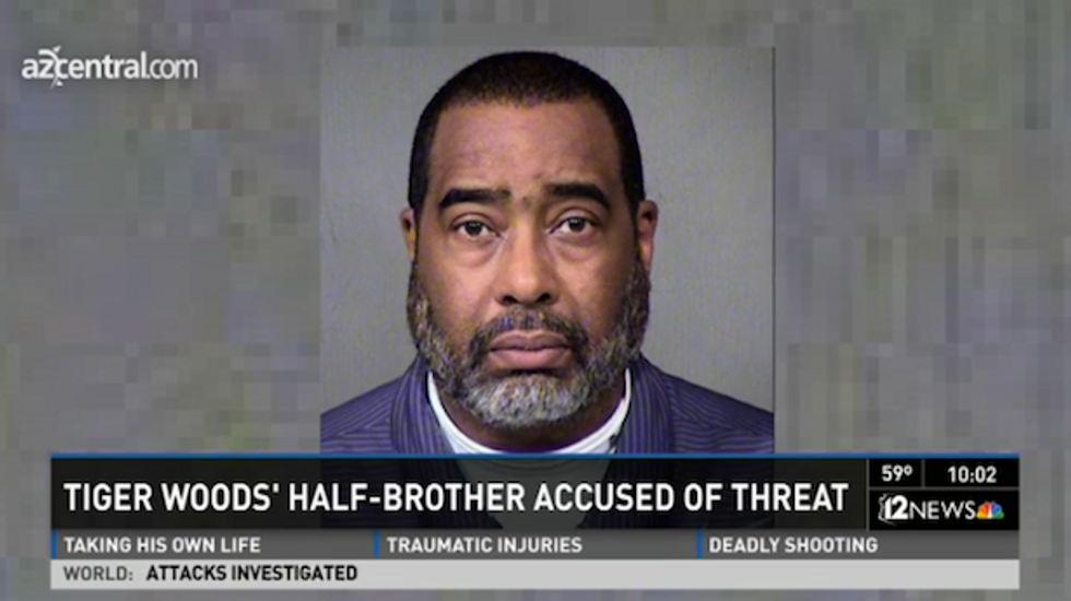 Tiger Woods' half-brother accused of making bomb threat against his employer