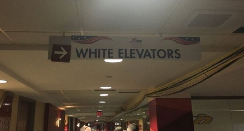 Republican National Convention staffers scrambling to remove Jim Crow-like 'white elevators' signs