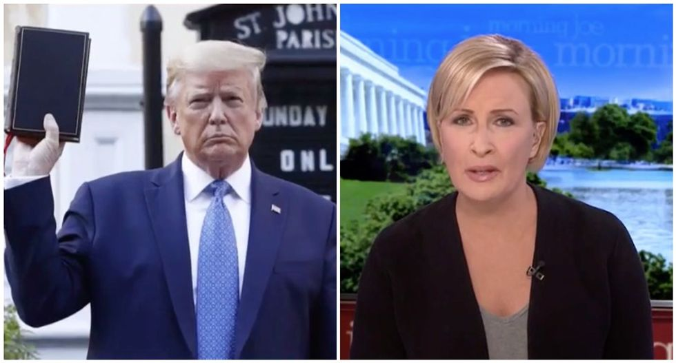 'Holding the Bible up like a Trump steak': MSNBC's Mika disgusted by president's church stunt
