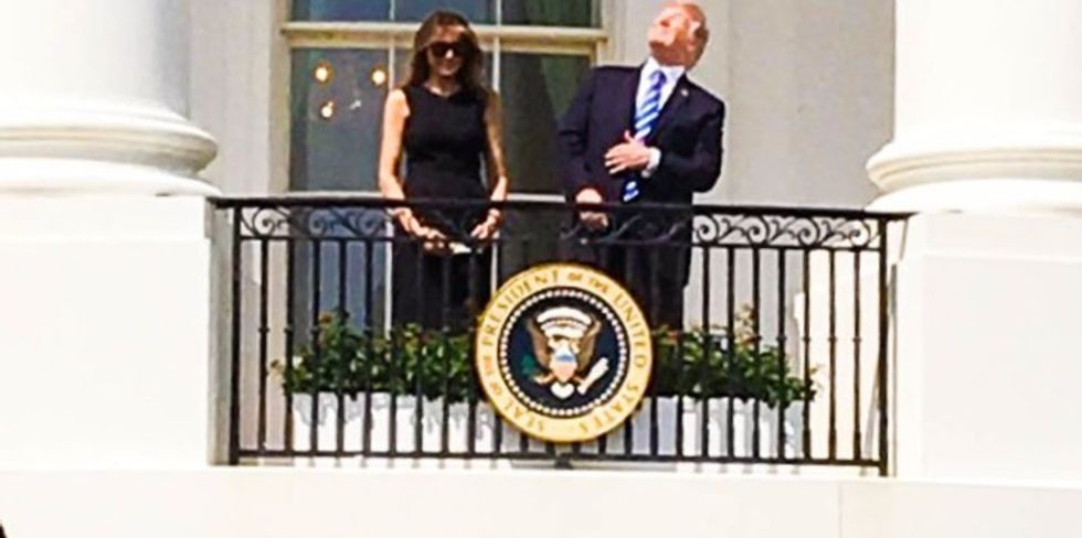 'Finally setting up a blind trust': Internet loses it after Trump stares directly into the eclipse