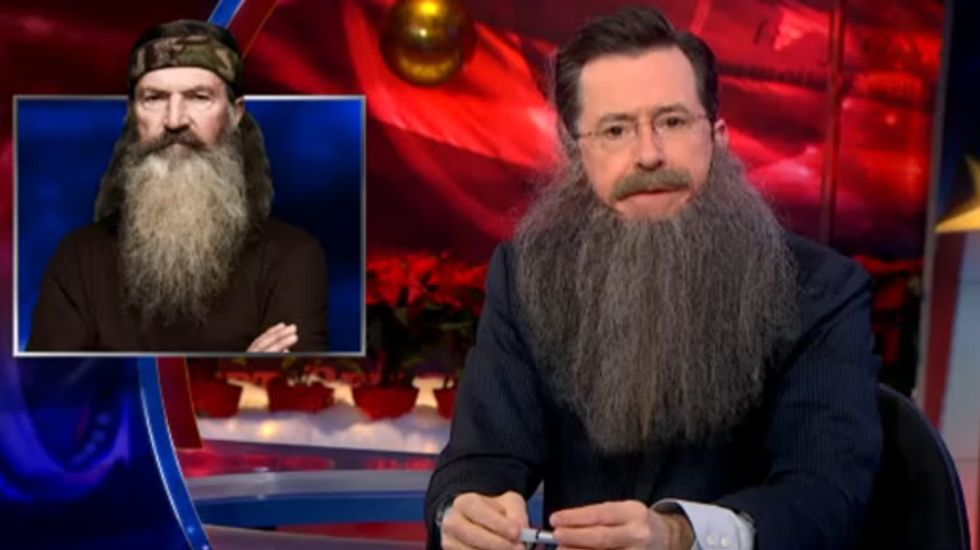 Stephen Colbert passionately defends bigotry of 'backwoods Louisiana bird-murderer'
