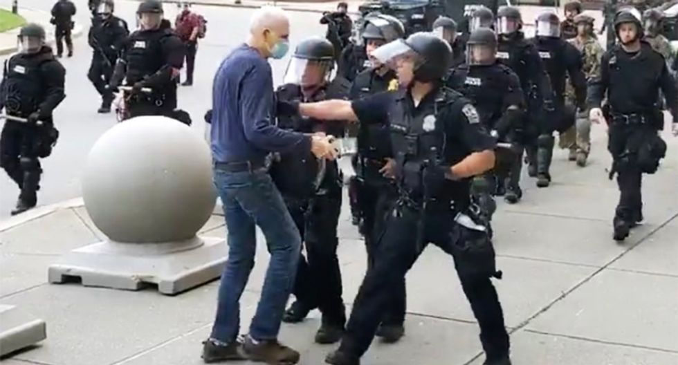 Skull fractured by police and lied about by Trump, 75-year-old peace activist Martin Gugino still unable to walk