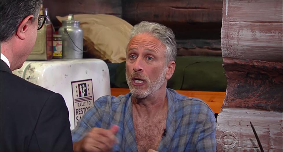 Jon Stewart and Stephen Colbert gleefully mock 'angry creamsicle' Donald Trump