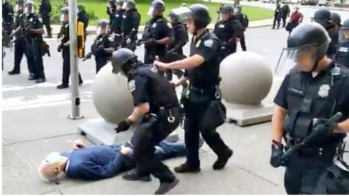 Racial justice protester pushed over by Buffalo police sues city and cops