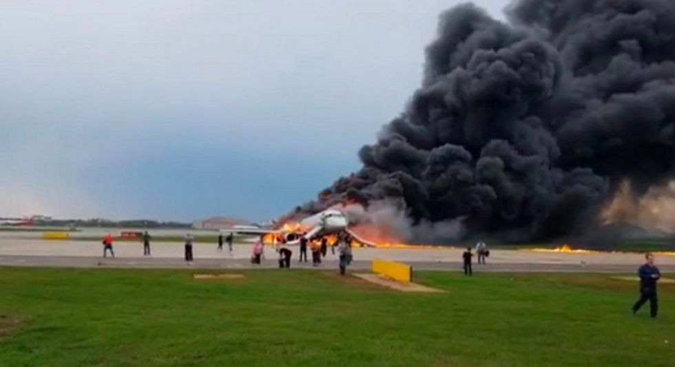 WATCH: Russian plane engulfed in flames makes emergency landing at Moscow airport