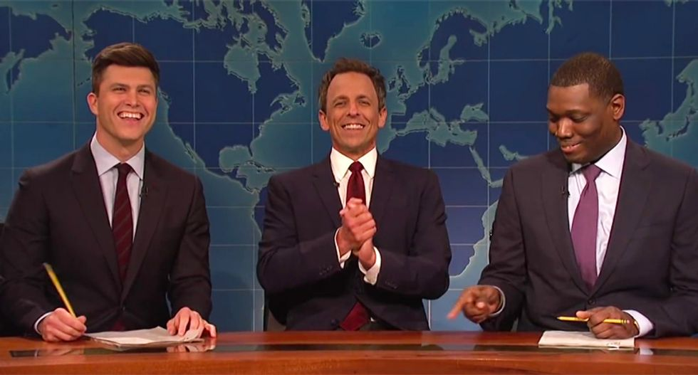 Seth Myers returns to SNL's 'Weekend Update' and immediately pummels Trump for meeting with Kanye