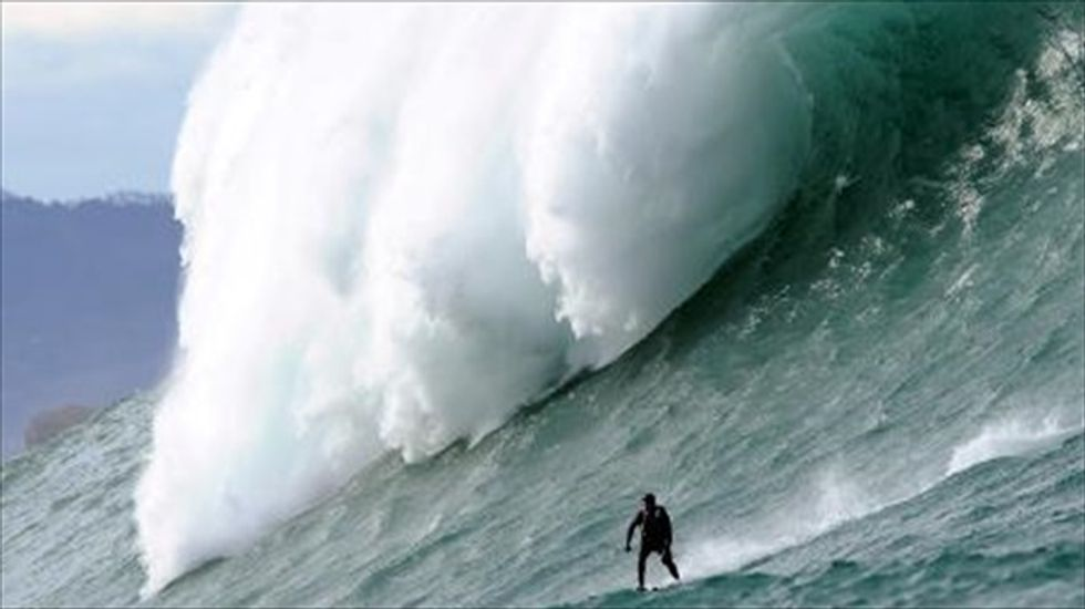 Gigantic waves have surfers flocking to southern France