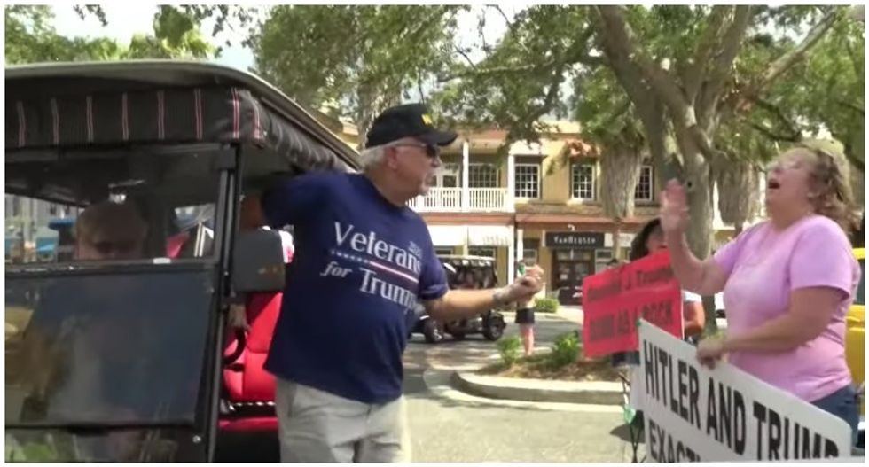 'White power!' Anger erupts at Florida golf cart parade as protesters clash with Trump supporters