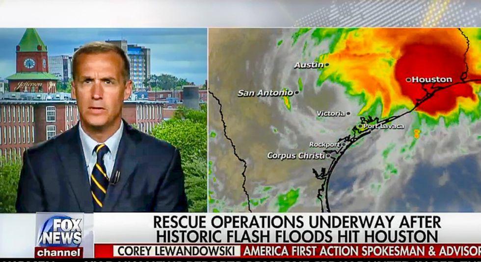 Fox & Friends invites clueless Corey Lewandowski for advice on surviving hurricane and using it to save Trump