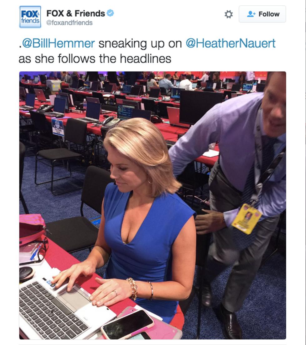 Now-deleted tweet showing Heather Nauert and Bill Hemmer (Twitter)