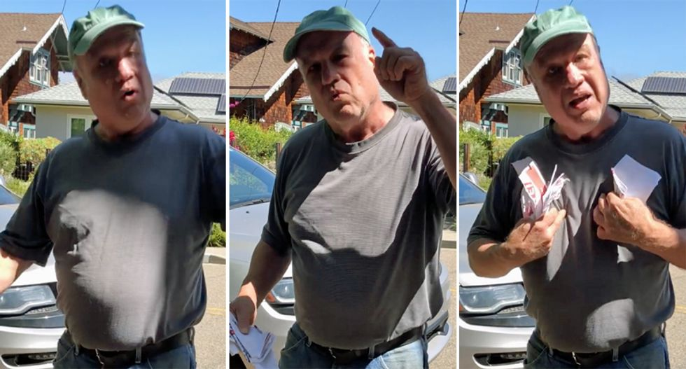 WATCH: White man in Berkeley goes on profane rant after tearing down protest signs on Juneteenth