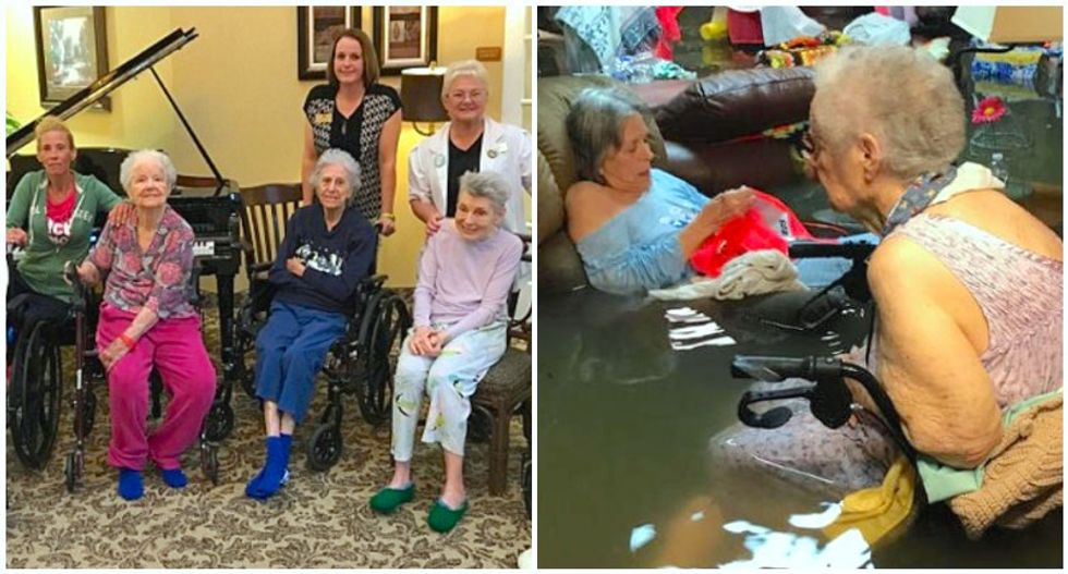 Houston nursing home residents shown calmly awaiting flood rescue share new photo after moving to safety