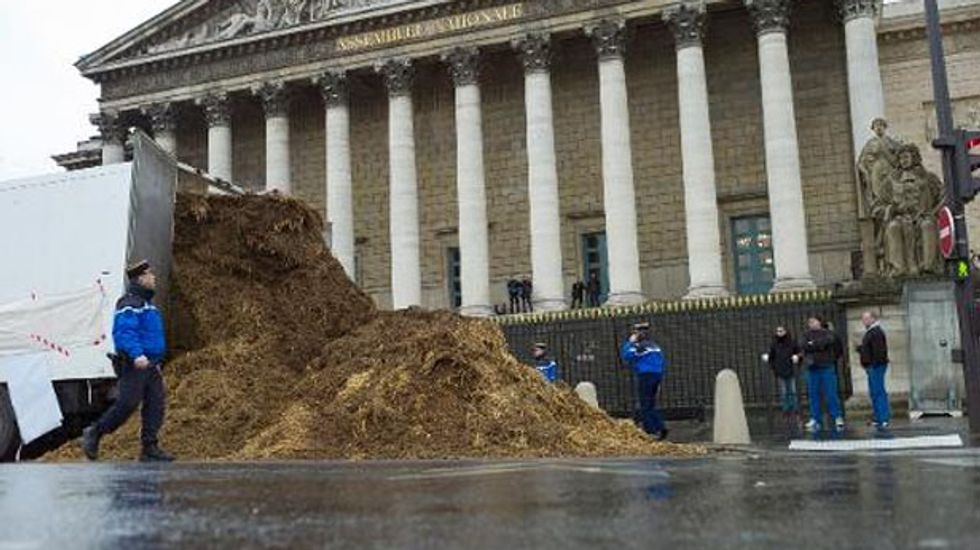 Massive pile of poop dumped outside the French National Assembly