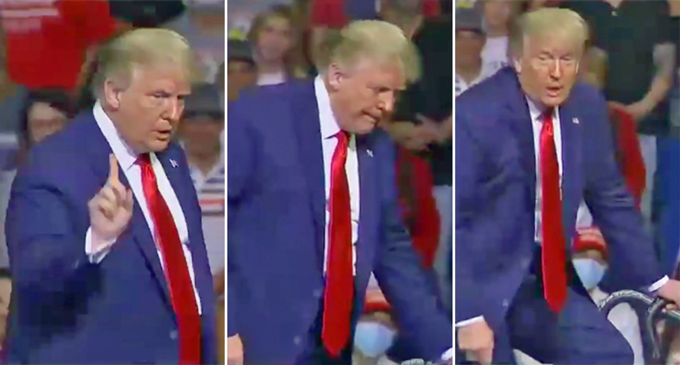 WATCH: Trump awkwardly tries to prove he can walk down a ramp after widespread worries his health is deteriorating