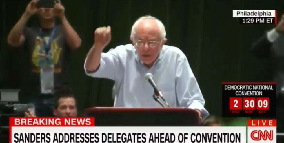 WATCH: Bernie Sanders gets booed when he tells supporters they should vote for Hillary Clinton