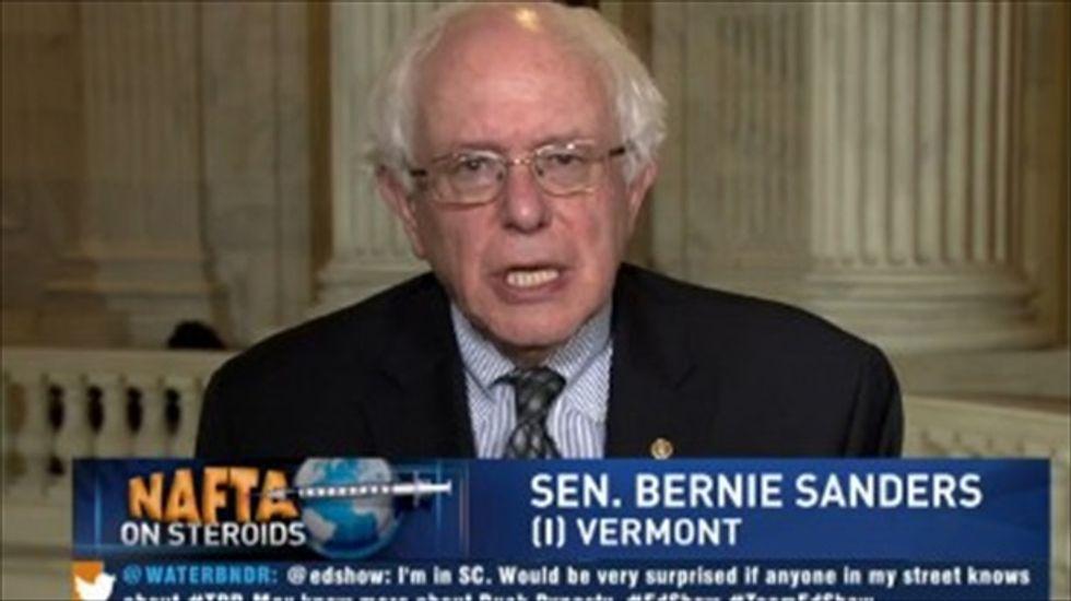 Sen. Bernie Sanders lambastes Democrats and Republicans over Trans-Pacific Partnership