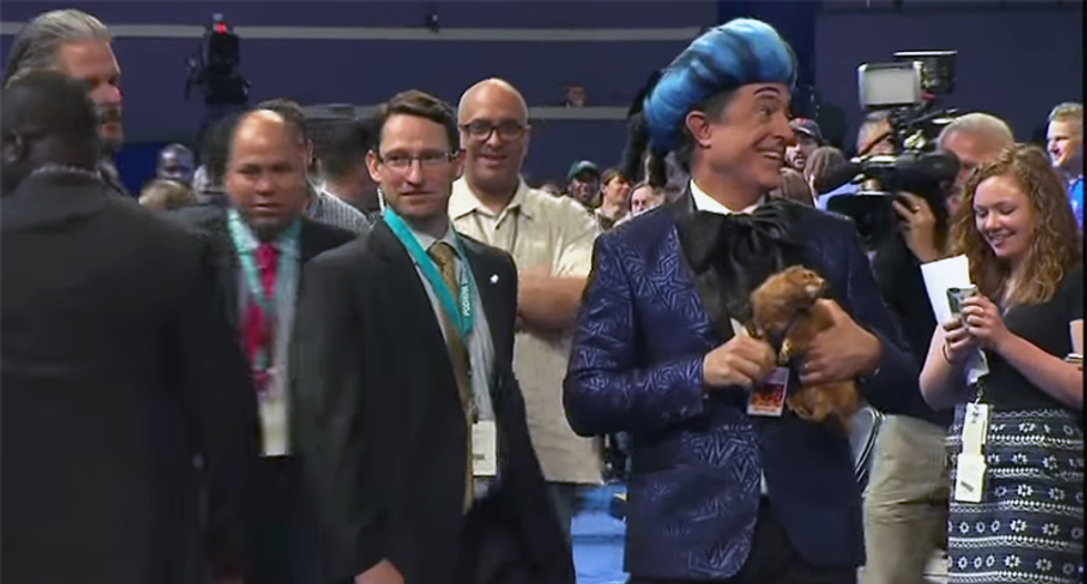 'I'm with her!': Stephen Colbert hilariously tries to get onstage at the DNC