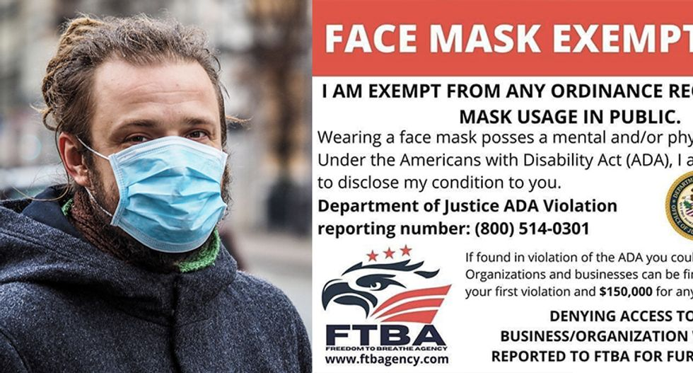 There's no such thing as a government-issued 'face mask exempt card' -- it's all a fraud
