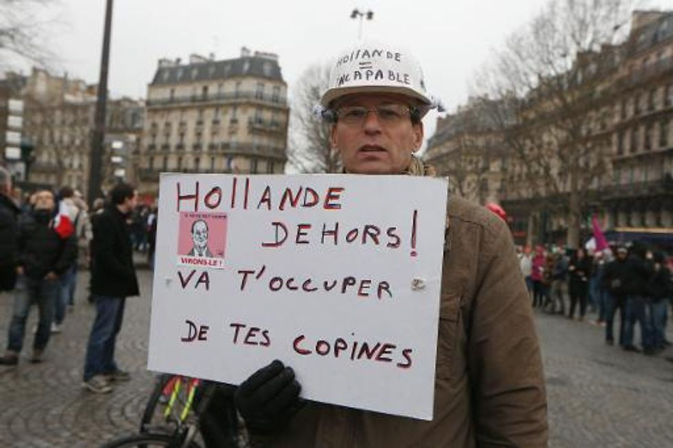 Thousands stage 'Day of Anger' protest against French President Francois Hollande