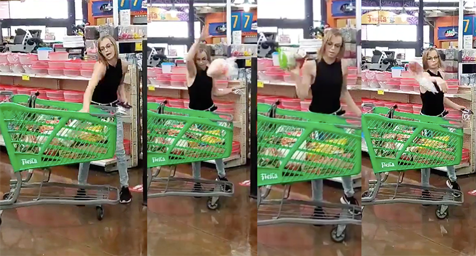 White lady starts throwing food in Latino market when she's told to put mask back on