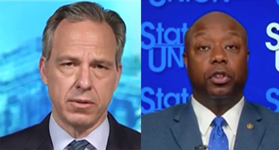 Sen Tim Scott accuses CNN's Tapper of 'playing politics' for question about Trump's 'white power' video