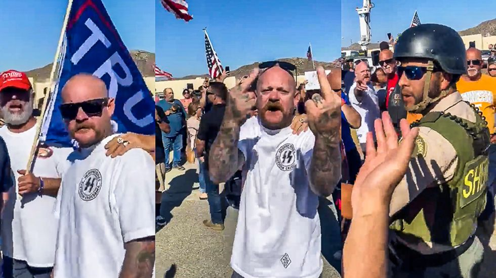 Man in Nazi stormtrooper garb assaults Black Lives Matter protester while deputies do nothing
