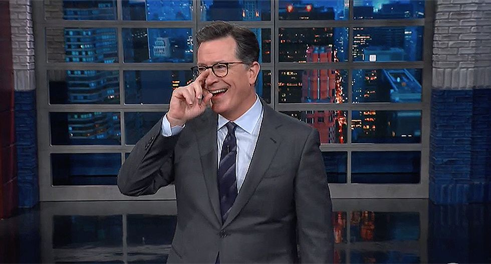 Colbert breaks into hysterics at Fox News for 'honest' flub calling bomb a suspicious package of 'white power'