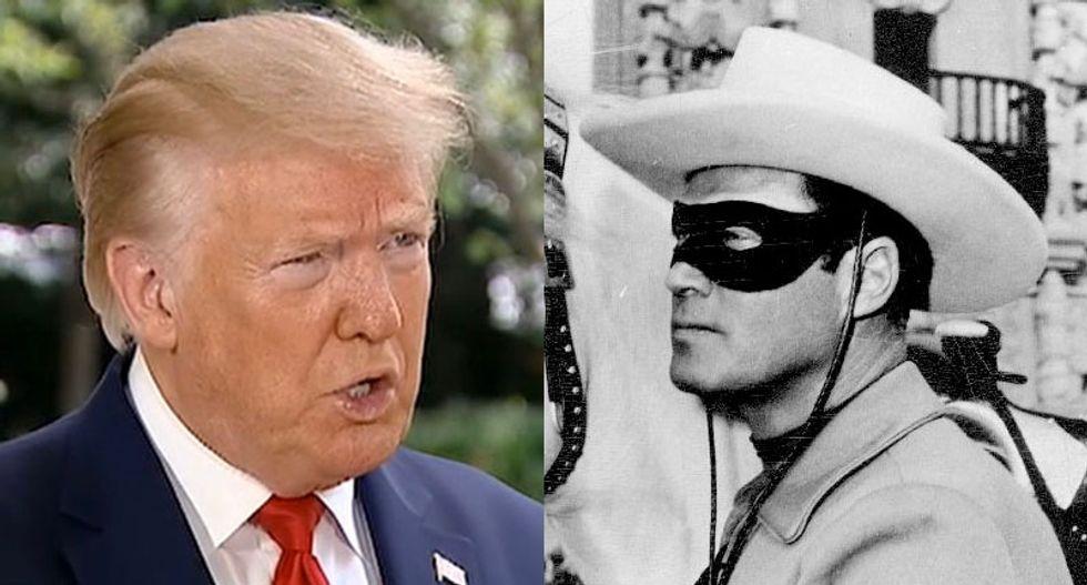 Wearing it wrong? 'Idiot' Trump ignites mockery after bragging masks make him look like the 'Lone Ranger'