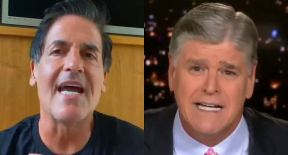 WATCH: Mark Cuban mocks Sean Hannity to his face over his pathetic 'softball' interviews of the president