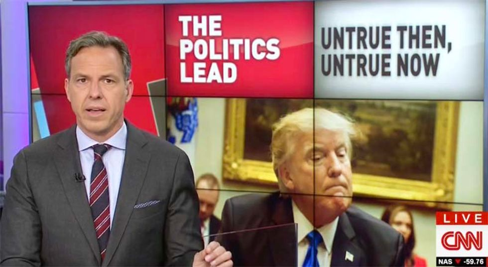 'It was a lie': CNN's Jake Tapper pounds Trump over Obama wiretapping claim after DOJ confirms it was bogus