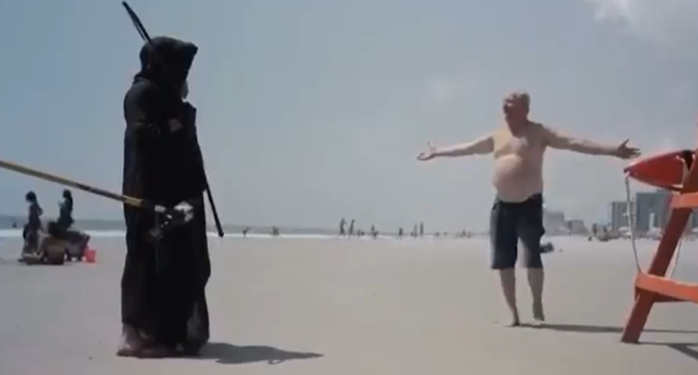 WATCH: Florida beachgoer pushes new conspiracy theory of how COVID-19 got to the United States