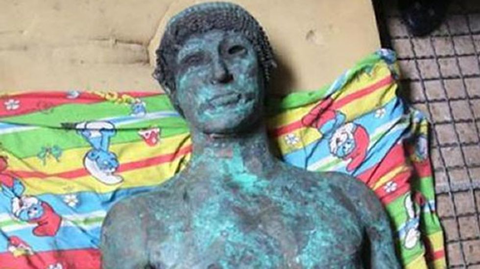 2,500-year-old bronze statue of the Greek god Apollo discovered by Palestinian fishermen