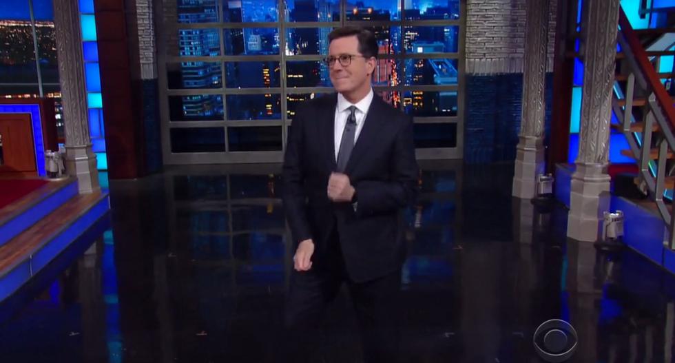 'Technical blunder!': Colbert's mixes Trump's women's empowerment speech with another infamous Trump video