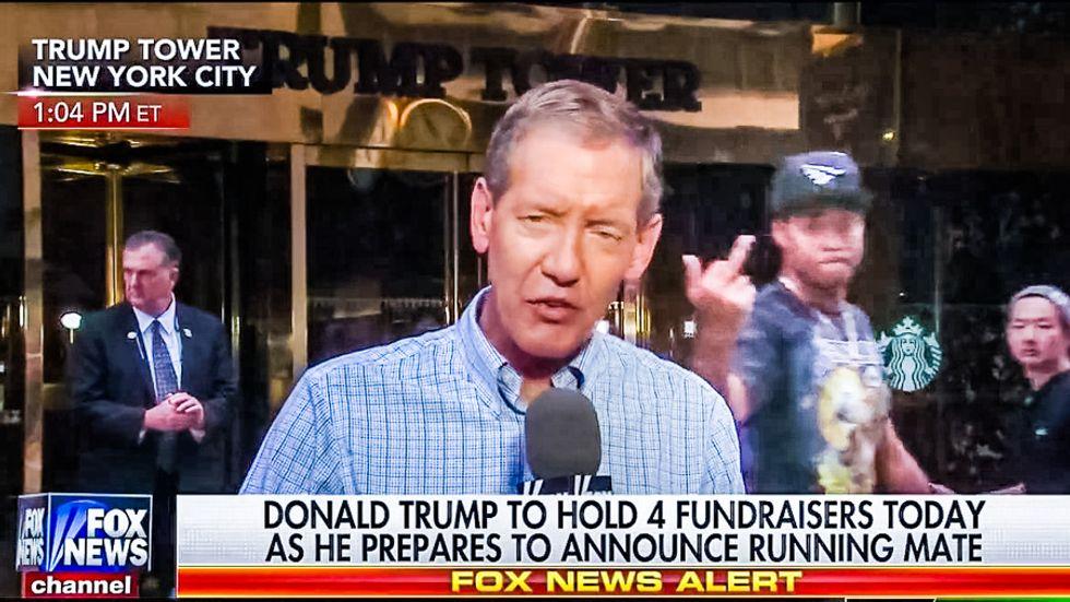 WATCH: Black man flips Fox News the bird during report from Trump Tower