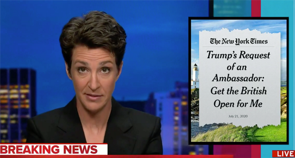 Watch Maddow's epic rant against Trump's latest corruption scandal involving golf: 'This keeps happening'