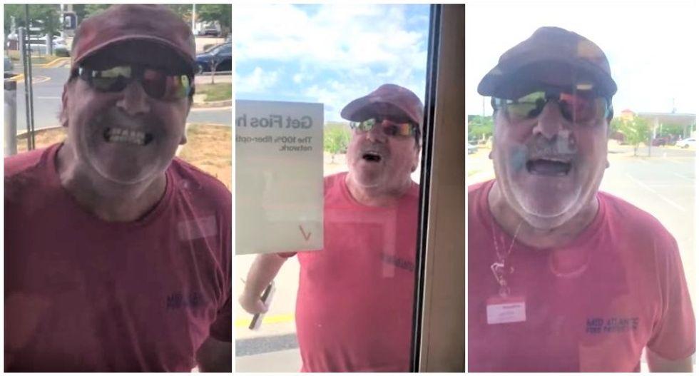 WATCH: Man screams the N-word at Black Verizon employee while pounding on store windows