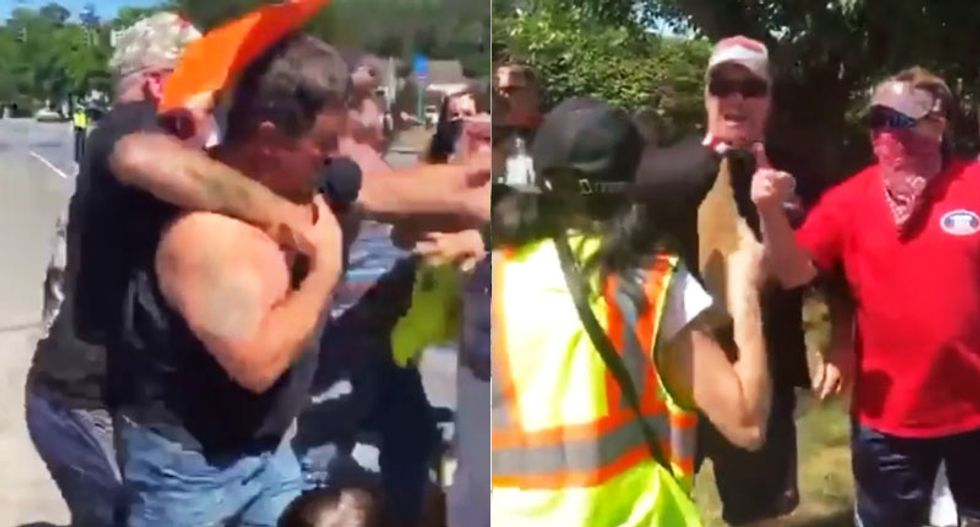 12-year-old girl gets hit and knocked to the ground as men yelling 'All Lives Matter' confront BLM marchers
