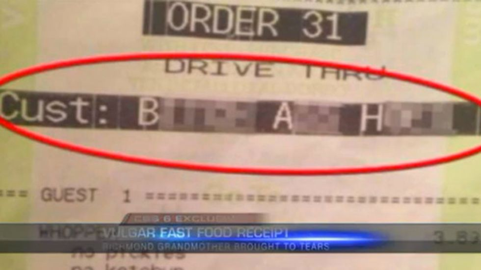 Grandmother in tears after Burger King receipt brands her a 'b*tch a** hoe'