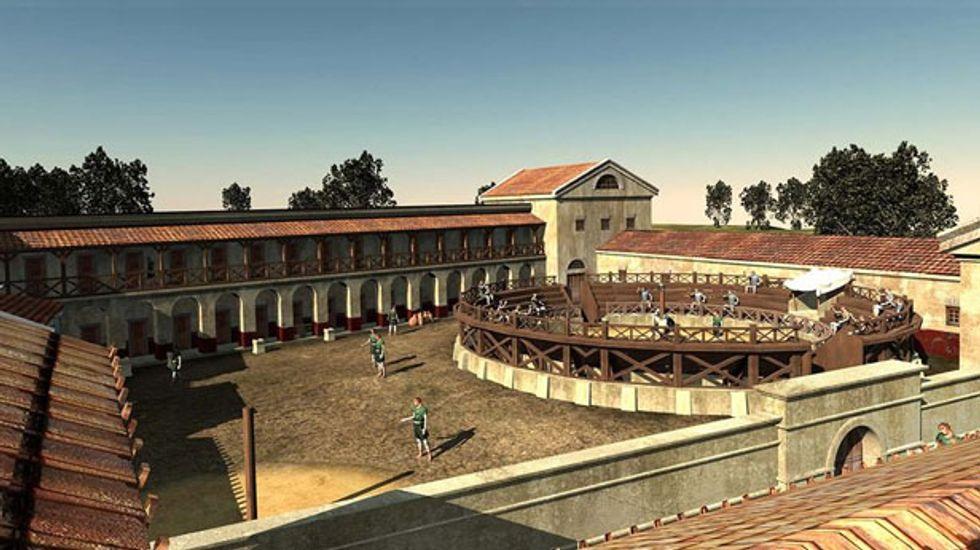 Archaeologists recreate ancient Roman gladiator school found in Austria