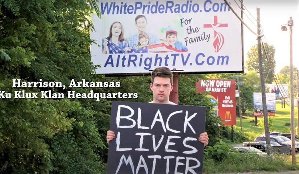 Man holding Black Lives Matter sign in 'America's most racist town' gets pelted with nonstop threats and abuse