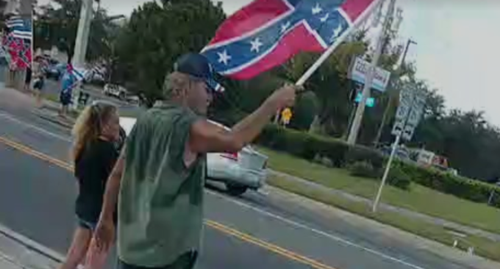 WATCH: Florida Trump supporters waving Confederate banners clash with BLM protesters