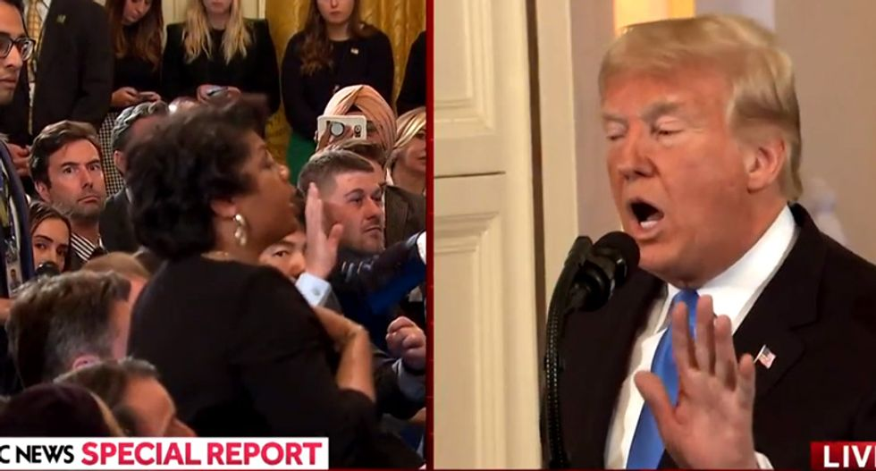'Sit down!' Trump berates CNN's April Ryan as she tries to question him about voter suppression