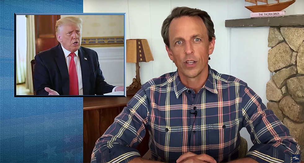 Seth Meyers mocks Trump's Axios interview where he 'couldn't even remember his own BS -- that's how fried his brain is'