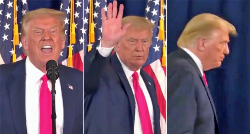 WATCH: Trump flees Bedminster press conference after reporter busts him for lying about veterans