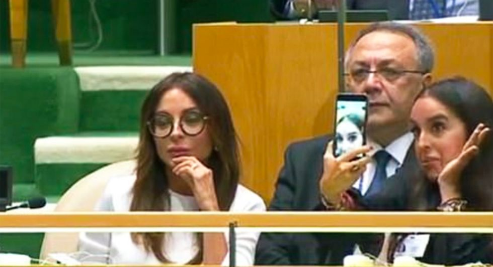 'Stupid rich kid' caught taking selfies during UN genocide speech – and she's the daughter of a world leader